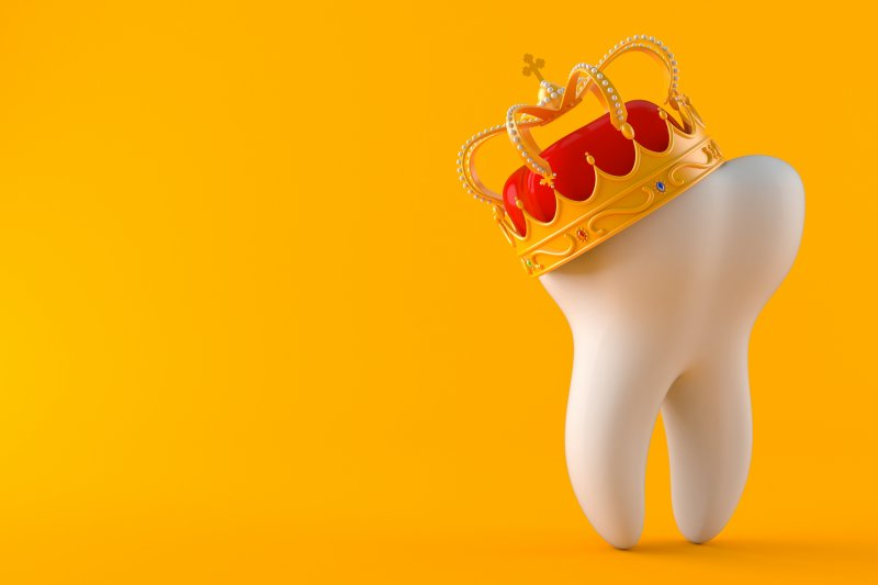 Tooth wearing a crown